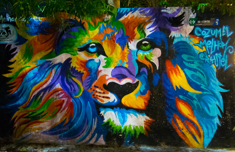 Lion - Street art on secret Fifth Avenue, Playa Del Carmen