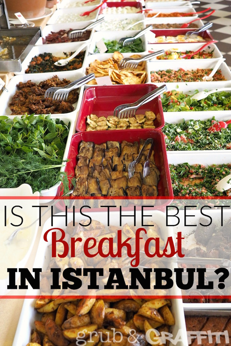 OMG, the breakfast buffet at Istanbul's Akdeniz Hatay Sofrasi is AMAZiING - more than 100 dishes of Turkish/Syrian foods to try. I'm stuffed!