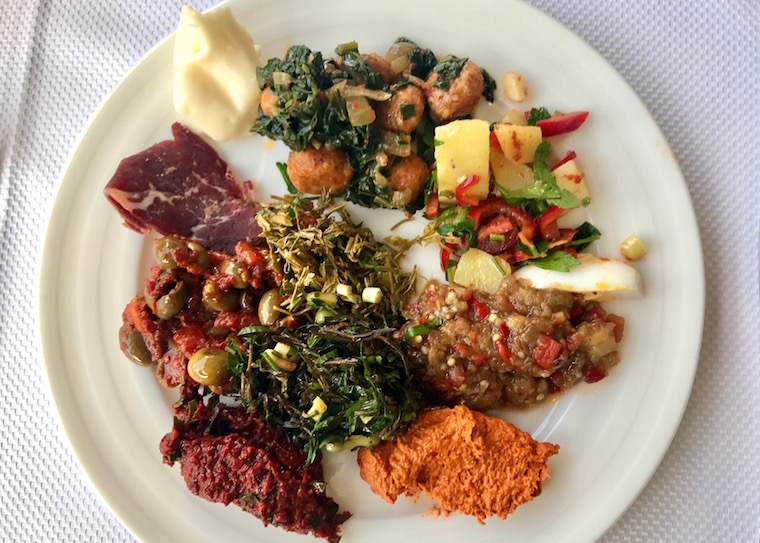 Round one - first plate of food from the breakfast buffet at Akendiz Hatay Sofrasi, Istanbul