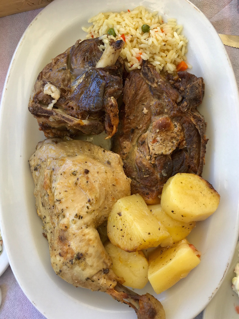 The delicious mixed grill from Taverna Lithos in Mochos, Crete