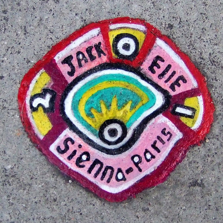 Chewing gum art with the names Jack, Ellie, Sienna and Paris