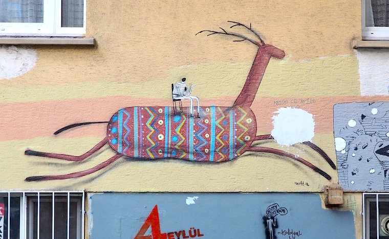 Colourful deer street art by Mert, Istanbul