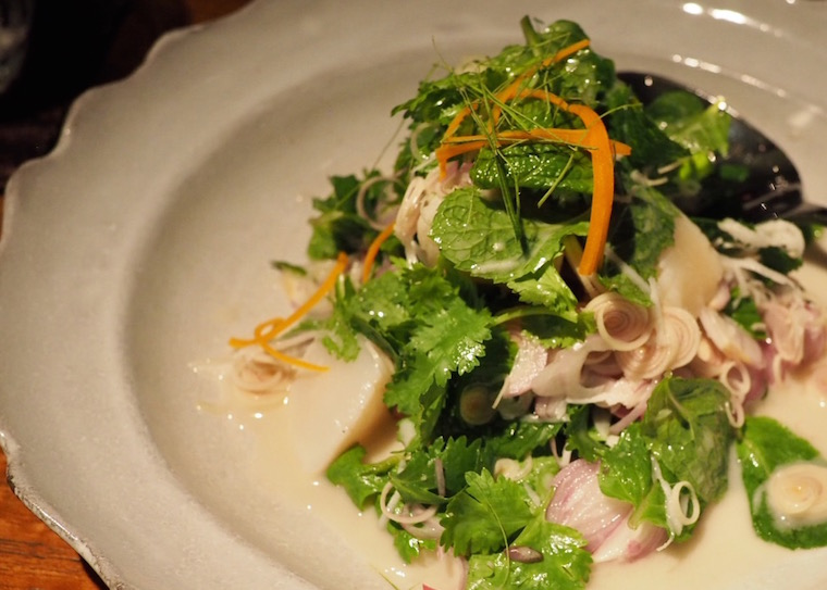A plate of scallop salad with coconut and lemongrass from Nahm, Bangkok
