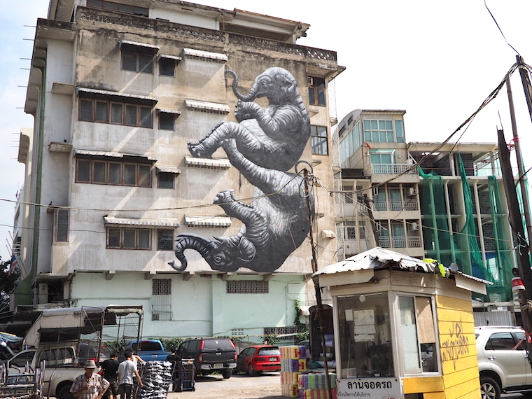 ROA elephants on the side of a building, for BUKRUK