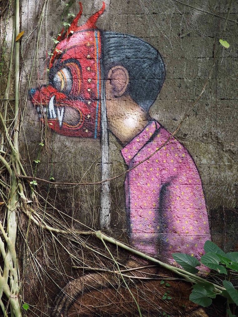 Seth Globepainter's boy with devil mask at Taman Festival, Bali