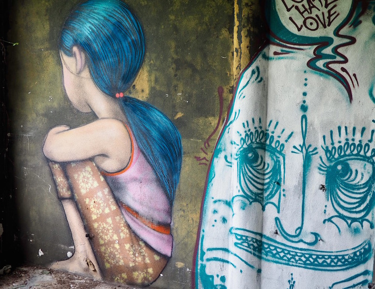 girl in Batik by Seth Globepainter at Taman Festival abandoned theme park in Bali