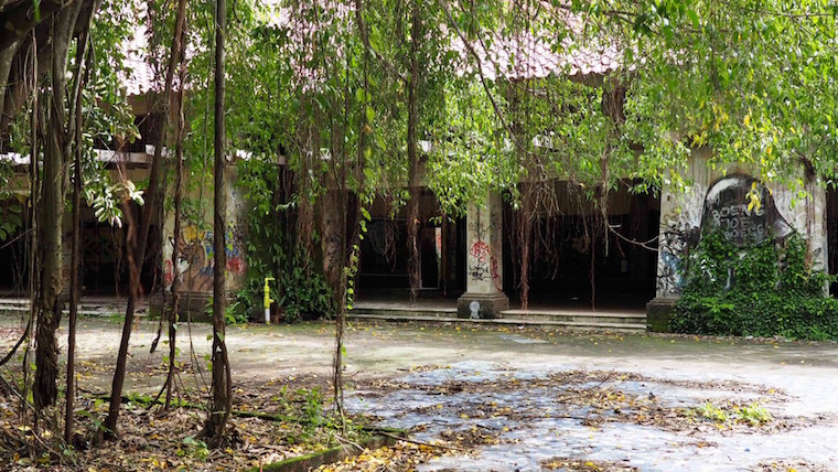 Overgrown building at Taman Festival, and abandoned theme park in Bali