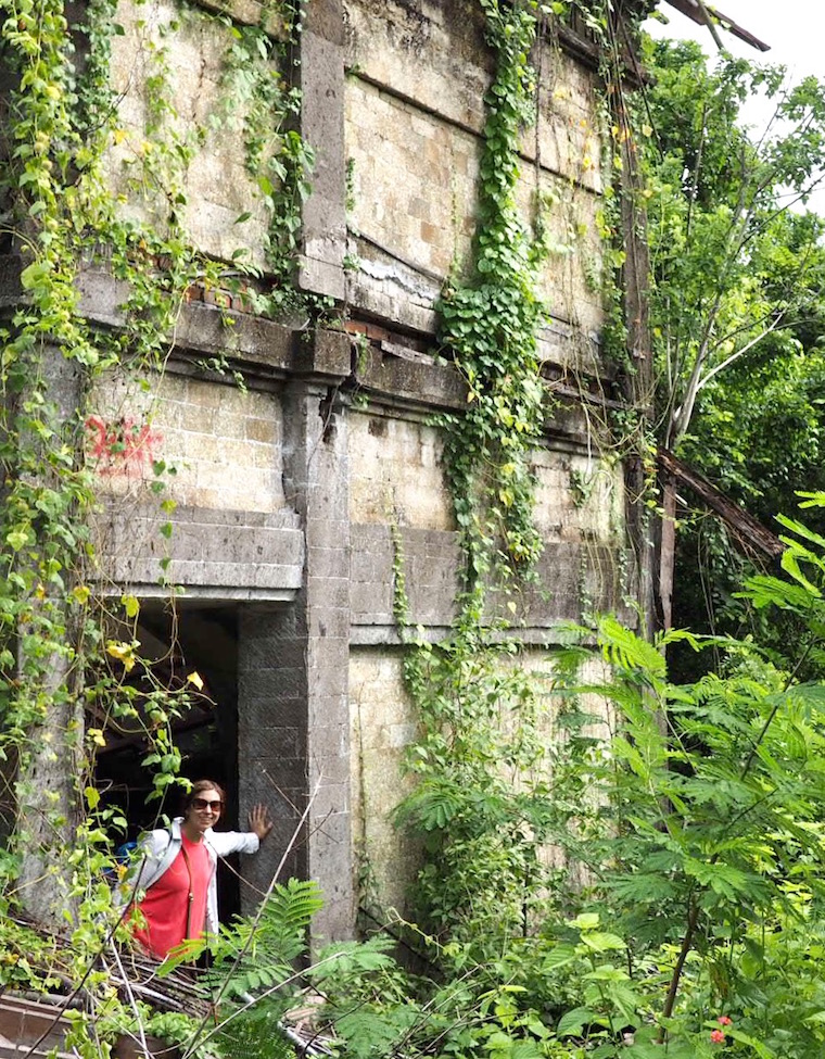Exploring one of the abandoned buildings at Taman Festival, Bali